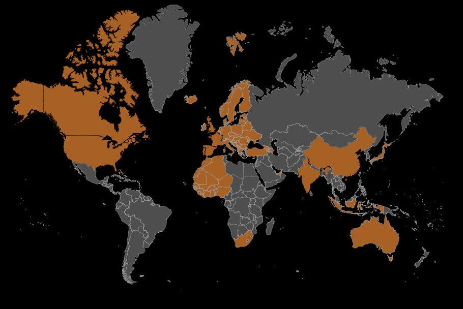 VCG International Service Area